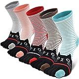 Teenloveme Mujer cinco calcetines de los dedos, Calcetines de Animales Lindos para Mujer Calcetines de Divertidos Ocasionales