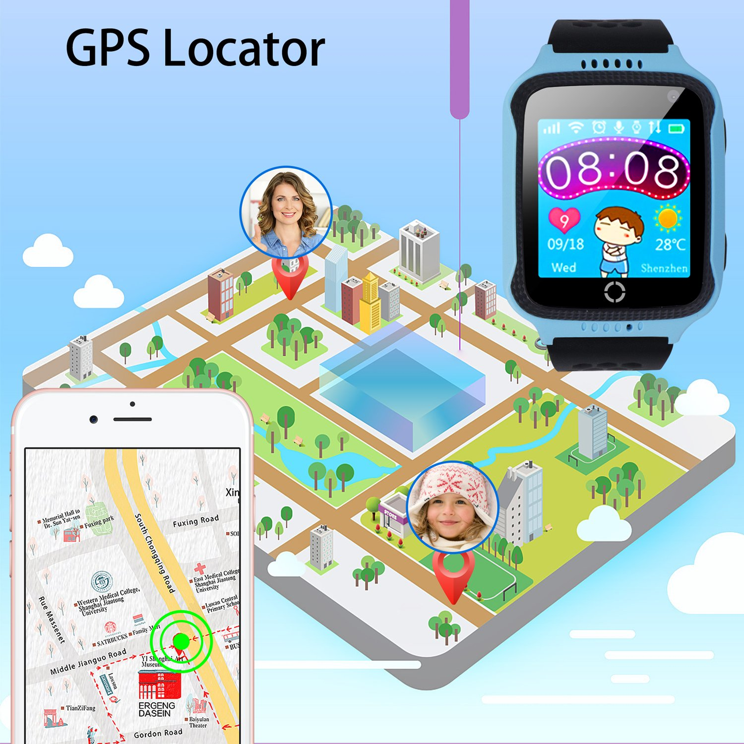 Yongkaida Smart Watch Kids Smartwatch GPS Tracker SOS Call Anti Lost Finder Remote Monitor SIM Card Touch Screen Camera Flashlight For Android And IOS Y22