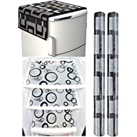 Factcore Combo of Refrigerator Cover (Black Box), 2 Handle Cover (B&W) and 3 Fridge Mats(B&W)(Circle) Standard Size…