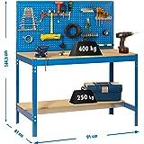 Simonrack 448100045159062 Banco de trabajo (1440 x 900 x 600 mm, 2 estantes y 1 panel perforado, 400 kg-250 kg) color azul/ma