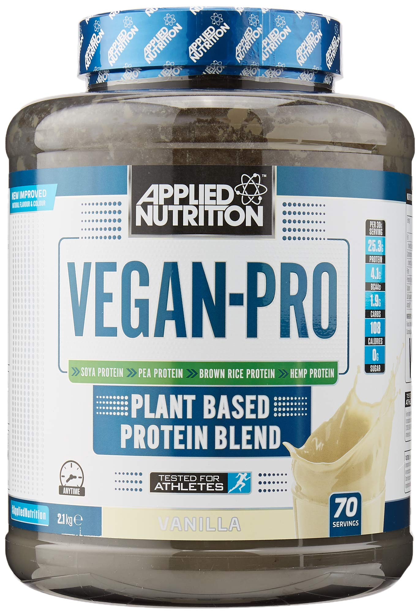 Applied Nutrition Vegan Pro Plant Based Protein Blend Powder Supplement Low Fat & Sugar Natural Flavour & Colour with…