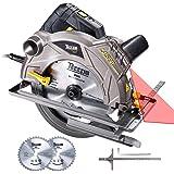 Sega Circolare, TECCPO 1500W 5800 RPM Sega Circolare con Guida Laser, 2 Lame Ø185mm (40T&24T), Profondità di Taglio 63mm (90°), 45mm (45°), Motore in Rame - TACS01P