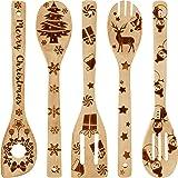 Boao 5 Pezzi Set di Cucchiai di Legno di Natale Cucchiaio Bruciato dell'Utensile da Cucina Decorazione della Cucina di…