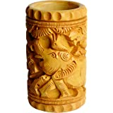 Sri Arundhathi Handicrafts Wooden Carving Pen and Pencil Holder - 5 cm X 5 cm X 10 cm, Clay