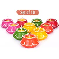 Tied Ribbons Clay Handmade Waxed Diya Set for Home Decoration (5 cm X 5 cm X 2.39 cm, Multicolor, 10 Piece)