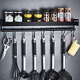Amzeeniu Étagère de Cuisine Murale Sans Perçage,Porte Serviette Mural d'épices,Porte-épices,étagère de cuisine,6 crochets amo