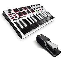 AKAI Professional MPK Mini MKII LE White + M-Audio SP-2 - Clavier Maître MIDI USB 25 Touches Sensibles à la Vélocité, Pads, Joystick et Pack de Logiciels + Pédale de Sustain Universelle de Type Piano