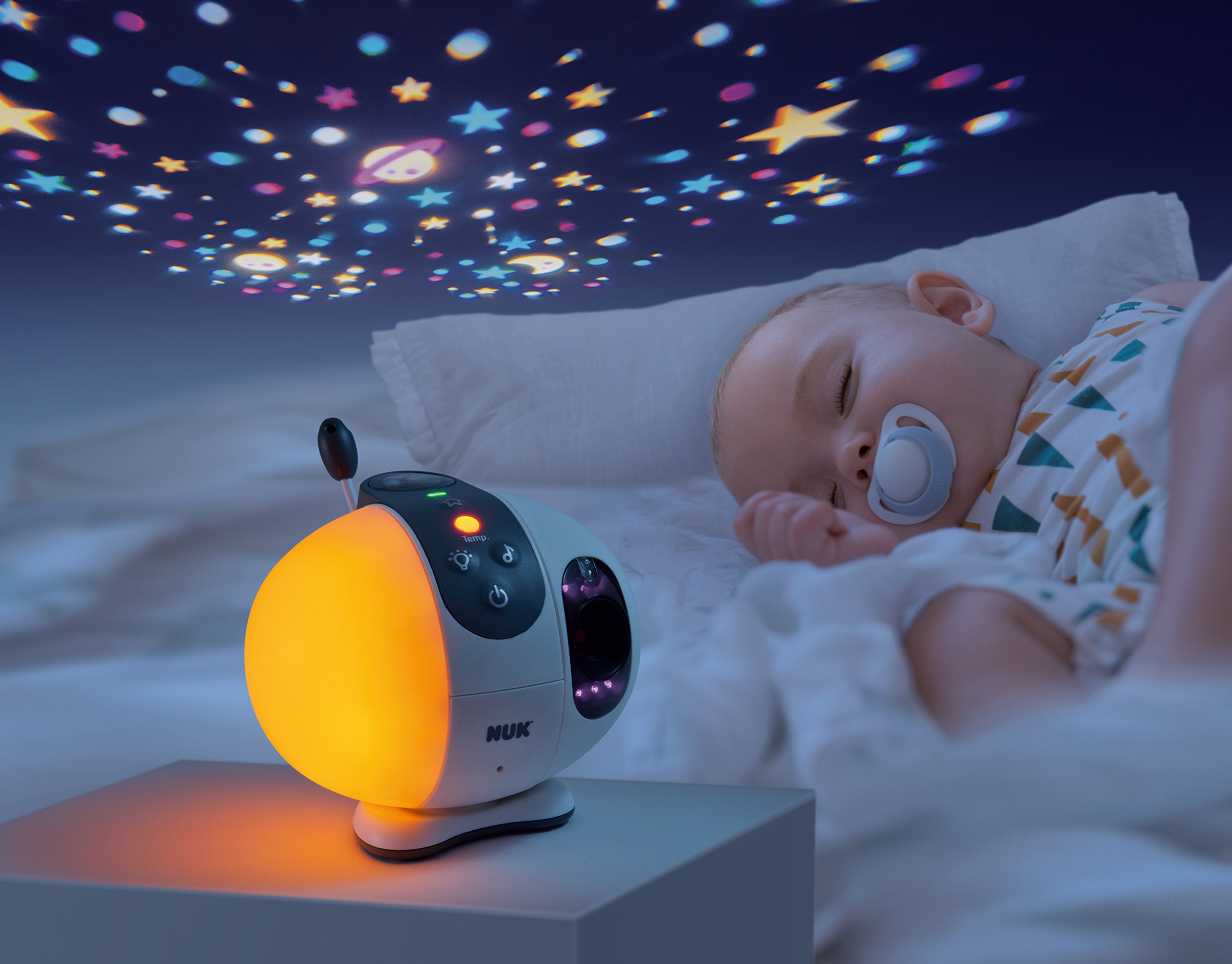 NUK Eco Control + Max 410 Digital Baby Monitor with Camera Starlight Projection, Free from High-Frequency Radiation in Eco Mode
