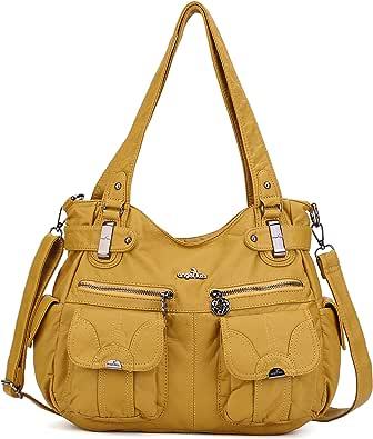 Angelkiss Damen Handtasche Große Doppelreißverschluss Multi Pocket Washed Schultertasche Designer-Handtaschen für Frauen