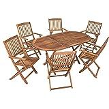 ESTEXO Akazienholz Sitzgruppe Modell Timber für 6 Personen, Gartenmöbel Set aus Holz, klappbar