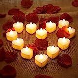 12 Candele Tealight LED di Cuore Candele LED Amore Romantico con 200 Petali di Rosa di Seta Petali di Fiori Artificiali di Di