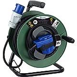 Electraline 49209, Kabelhaspel Industriel H07 RN-F 3G1,5 25 m kabel - IP44 outdoor/kabelrol met rubberen verlenging, met 2 st