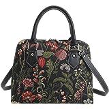 Signare Tapestry Arazzo Top Handle borsa borse donna, borsa donna tracolla con Disegni da Giardino (Mattina Giardino Nero)