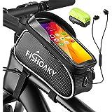 FISHOAKY Borsa Telaio Bici, Impermeabile Borsa Biciclette con TPU Touch Screen Grande capacità Borse Cellulare MTB BMX Mounta