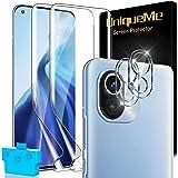 [2 + 2 stycken] UnqiueMe 2 stycken skyddsfolie för Xiaomi Mi 11 4G/5G-film och 2 stycken pansarglas kameraskydd, mjuk TPU dis