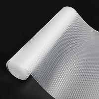 Qhui 30x400cm Tapis Fond de Tiroir Antiderapant Non-adhésif, Tapis de Frigo Cuisine Antibactérien et Lavable Transparent…