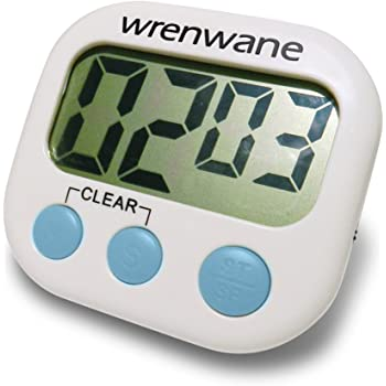 Loud Alarm,White for Rakii Digital Kitchen Timer with LED Display Back Strong Magnetic Long Standby