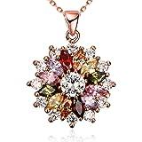 Fiocco di neve Fiore Multicolore collane del pendente con la CZ Rosa placcato oro per le donne ragazze regalo di compleanno B