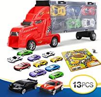 LENBEST Camión transportador, Coches Juguete para Niños, Un Total 12 Coches, Maletín portacoches - 6 Colores, Cada uno Color Tiene Dos Coches, 3 Años o Más Jugar