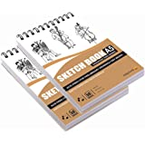 Askprints 50 Sheet A5 Sketchbook Set of 2-5.8 x 8.3 Inch | Top Spiral-Bound Sketchpad for Artists | Sketching and Drawing Aci