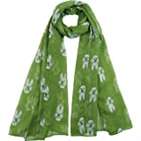 Brand New White Poodle Print Large Oversized Chiffon Feel Scarf Shawl Sarong Navy Blue, Duck Egg, Grey or Green Background (G