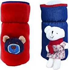 GURU KRIPA Baby Products ® Presents Philips Avent Bottle Cover Plush Stretchable Baby Feeding Bottle Cover with Handle ((260ml to 330ml), Red)