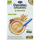 DANALAC Organic Crema di Cereali (5 Cereali) 200 Grammi Pappa Senza Zucchero 6+ Mesi | Grano, Mais, Riso, Segale, Orzo…