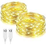 Lot de 2 guirlandes lumineuses à LED de 10m, alimentées par USB, 100 LED décoratives en fil argenté,pour chambre à coucher,mu