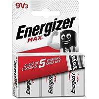 Energizer Max 9V Piles Alcalines, Lot de 3