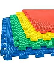 eHomeKart EVA Kid's Interlocking Play Mat -12 mm Thickness -Set of 8 Tiles -60 x 60 cm Each Tile -32 Square Feet Total Area (Multicolour)