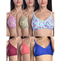 FIMS - Fashion is my style Cotton 6 Bras Combo for Women (Free 6 Bra Hook Extender) Combo Pack Bras Set for Women with…