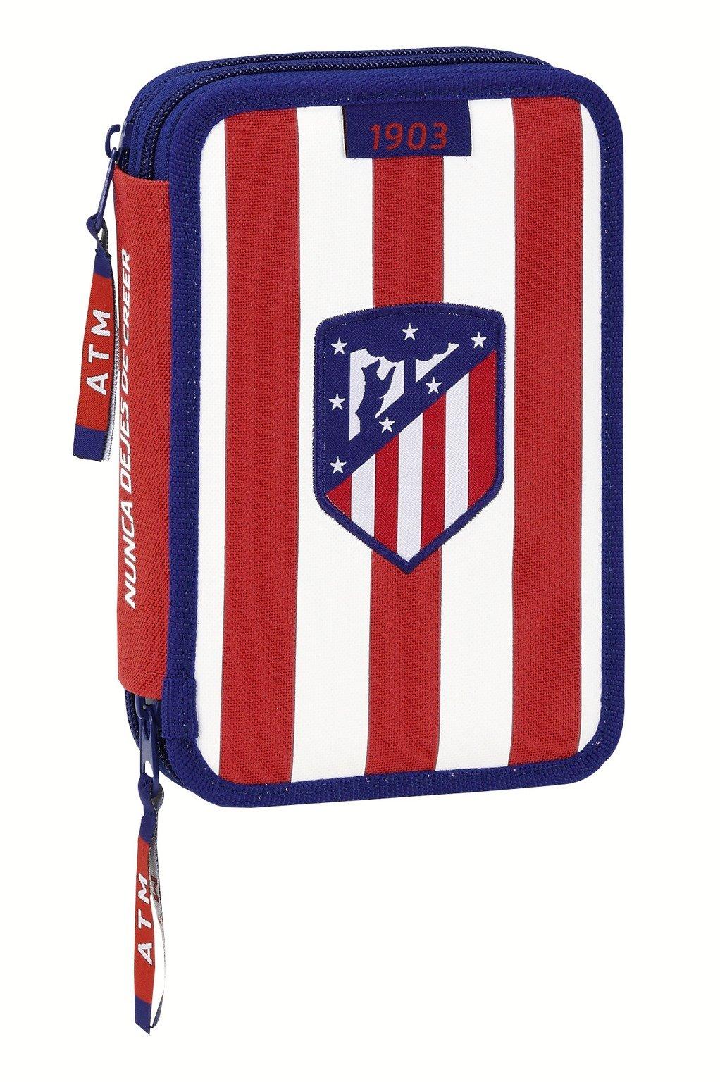 Atletico de Madrid- Plumier Doble pequeño 34 Piezas (SAFTA 411758054), Color Blanco y Rojo, 20 cm (