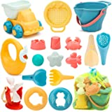Kids Sand Beach Toys, Sand Toys Set with Resuable Mesh Bag Bucket and Spade Summer Beach Games for Children Toddlers