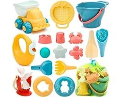 Sanlebi 17 Piezas Juguetes de Playa para Niños, Juegos Playa con Cubo Playa Palas Rastrillo Moldes de Arena, Niños Material P