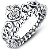 Presentski 925 Steriling d'argento a forma di cuore anello Principessa ereditaria con l'Austria zircone for Girls
