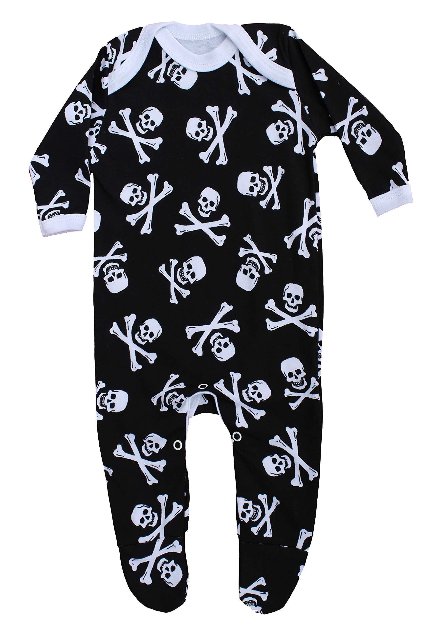 Pijama alternativo para bebé para niños o niñas | Mono pirata de calavera y huesos Jolly Roger - gótico ropa de bebé… 2