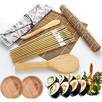 XIAQIU 12PCS Kit à Sushi, Ensemble de Sushi en Bambou, Kit de Fabrication de Sushi y Compris 2 Natte Bambou pour Sushi…