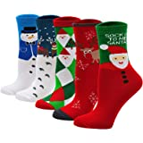 LOFIR Calcetines de Navidad para Mujeres Calcetines Divertidos con Dibujos de Nieve Papá Noel Calcetines de Algodón para Fies