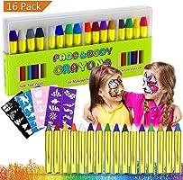 Buluri Face Paint per Bambini, colorare la faccia body painting kit per bambini sicuro e non tossico per colorazioni professionali con 40 stampini, perfetto per Carnevale, Pasqua, Natale (16 colors)