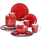 vancasso, Série Bella, Service de Table Classqiue en Porcelaine, 16 Pièces, Faïence Style Vintage Rustique- Vaiselle Rouge