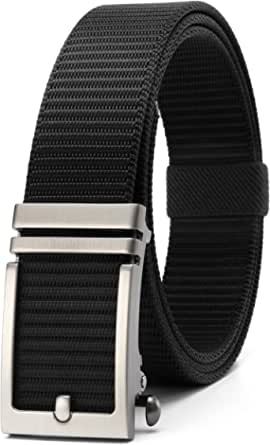 2 or 1 Pack Nylon Webbing Ratchet Belt for Golf with Slide Buckle, Fully Adjustable Casual Canvas Belt-5 Sizes for Exact Fit