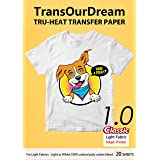 TransOurDream Tru-Transfer Paper Inkjet for Light Fabric 20 Sheets A4 Iron on Heat Transfer Paper for T Shirt Printing Paper