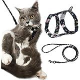 PETTOM Pettorina Gatto Regolabile con Guinzaglio Cordino Tondo Comodo Imbragatura per Gatto Grande Media Piccolo Cucciolo per