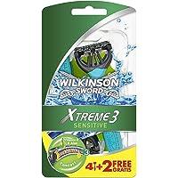 Wilkinson Sword - Rasoio Usa e Getta Xtreme 3 Sensitive - Rasoio per Uomo a 3 Lame - Confezione da 4 Rasoi + 2 in…
