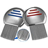 MEDca Lice Comb (Pack of 2) Stainless Steel Professional Lice Combs and Head Lice Treatment to Effectively Get Rid of Hair Li
