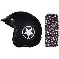 Autofy O2 Front Open Helmet (Black and Grey, M) and Autofy Pirate Skull Print Lycra Headwrap Bandana for Bikes (Black…