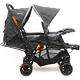 baby plus BP7743 Twin Stroller with Reclining Seat, Grey - Pack of 1, BP7743-GREY