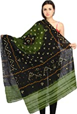 Exotic India Bandhani Tie-Dye Shawl from Kutch with Embroidered Mirrors