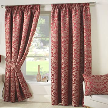 Red Curtains amazon red curtains : One Pair Heavy Thick Top Quality Lined DAMASK Curtains RED GOLD ...