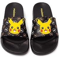 Pokemon Sliders For Boys | Kids Pikachu Face Sandals Beach Shower Shoes | Childrens Pokeball Black Summer Footwear Game…